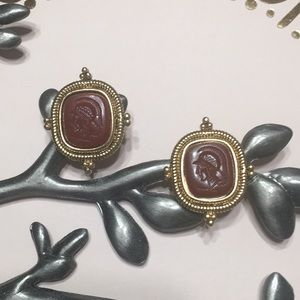 VENDOME soldier cameo earring clip on